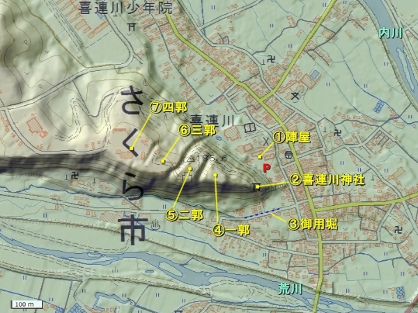 喜連川城地形図