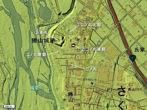勝山城地形図