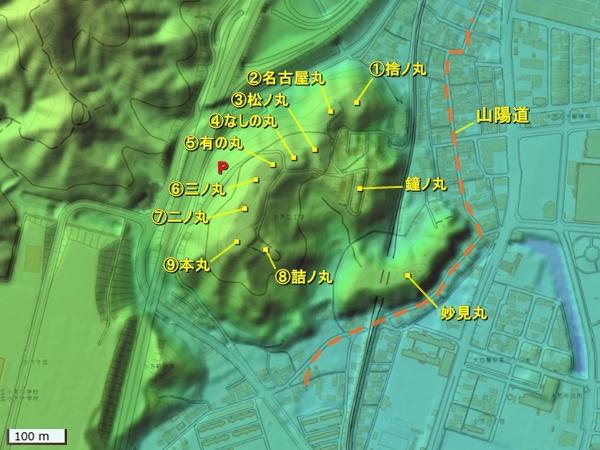 亀居城地形図