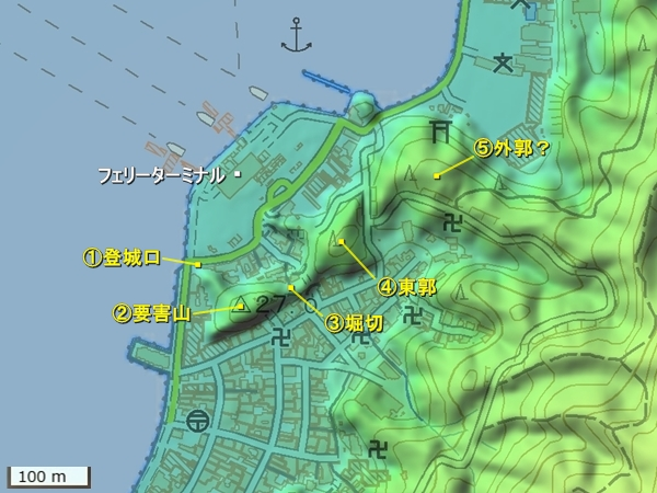 宮尾城地形図