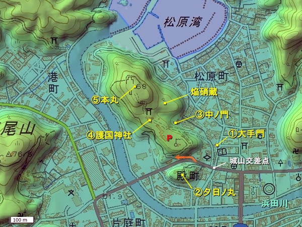浜田城地形図