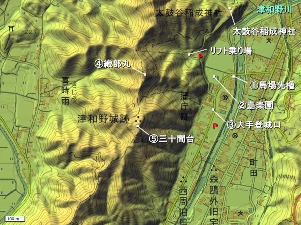 津和野城地形図