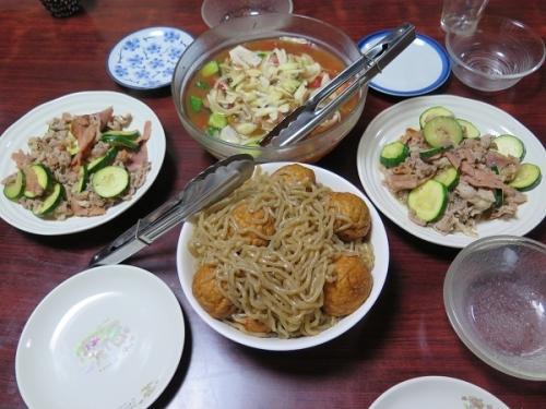 揚げびたしリニューアル、糸こんにゃくと魚河岸揚げの煮物、ハム豚肉ズッキーニ炒め