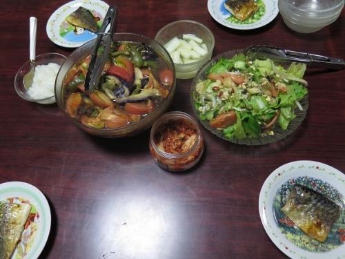 塩サバ大根おろし、ナッツ入りサラダ、夏野菜の揚げびたし