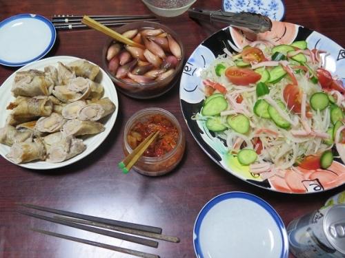 豚バラの新しょうが巻き、カニカマとモヤシのサラダ、ミョウガ岩下汁漬け