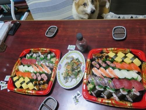半額寿司、半額菜の花ニシン、チューハイ