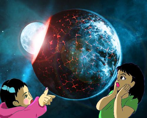 驚く 子供たち 地球