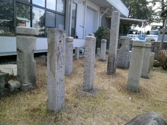 丸亀城に残る境界石 (1)
