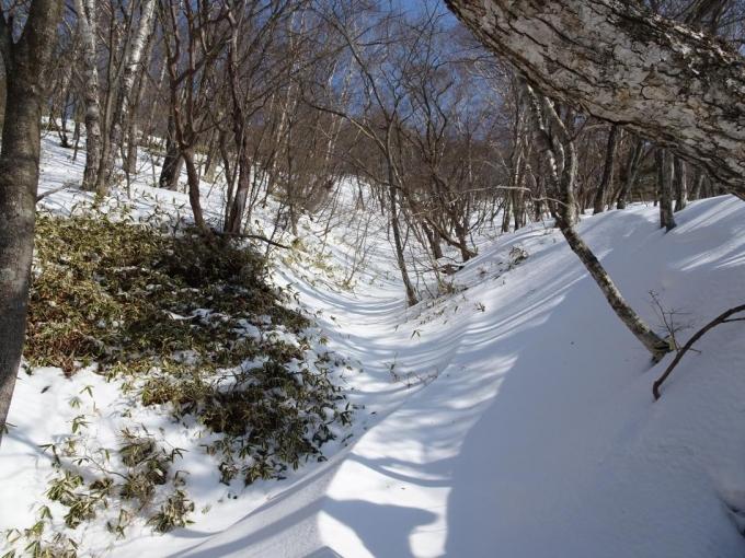 沢筋で雪の情景