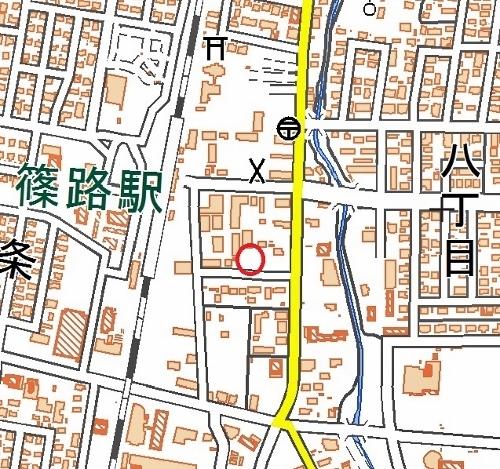 現在図 JR篠路駅東側 食糧事務所跡付近