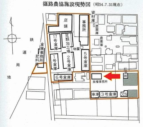 篠路農協30年史 施設配置図 駅東側