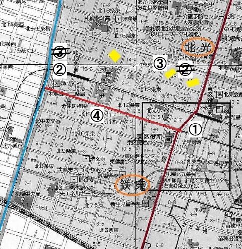 東区 現在図 北光、鉄東の謎 4箇所