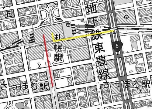 現在図 札幌駅とさっぽろ駅の距離
