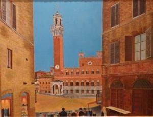 「イタリアの古都シエナにて」油彩画