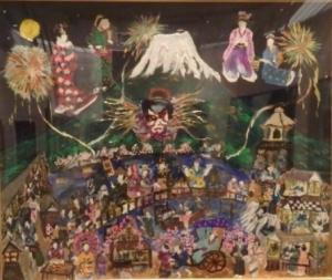 銅賞「富士山と江戸時代の庶民の暮らし」水彩画