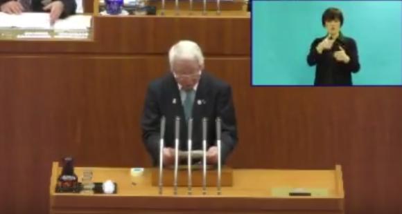 20180321議会で説明する井戸知事