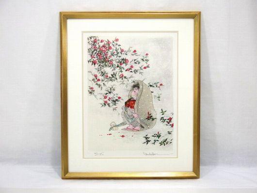 中島潔 「寒椿」  版画