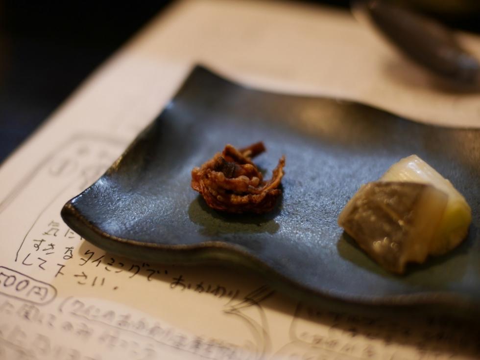 1スッポン3種前菜@腸@エンペラ酢@へしこ (3)