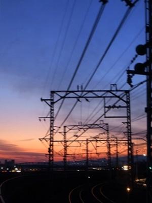 宇治川沿い夕焼け1802