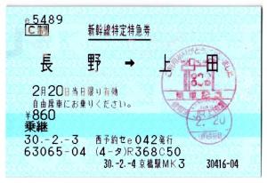 長野→上田自由席