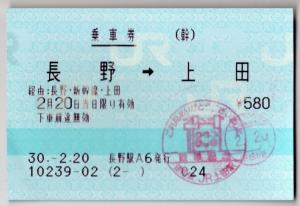 長野→上田乗車券