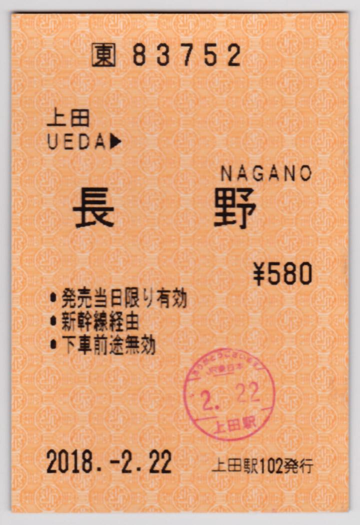 上田→長野乗車券