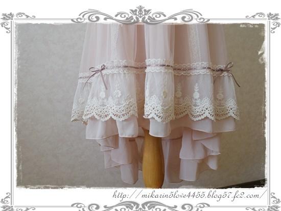 0121フィッシュテールチュールスカート(淡ピンク)裾