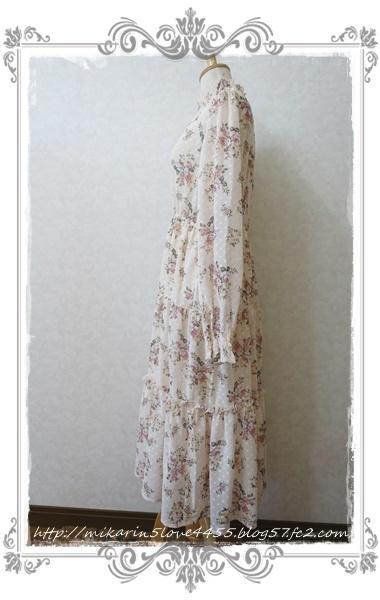 0203ドビー花柄ワンピース(生成り)横