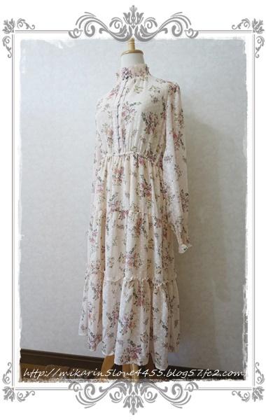 0203ドビー花柄ワンピース(生成り)2