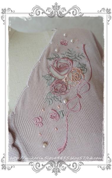0210透け刺繍使いカーディガン(淡ピンク)刺繍アップ