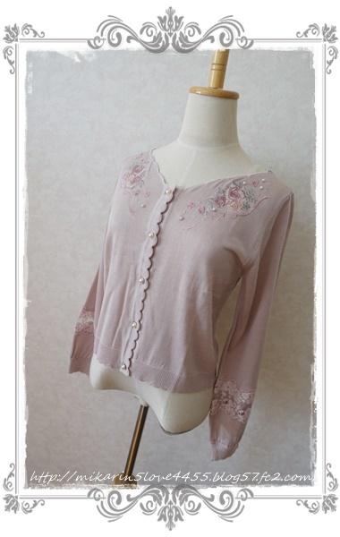 0210透け刺繍使いカーディガン(淡ピンク)2