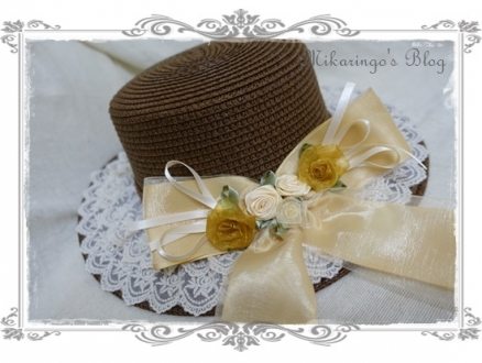 0227巻きバラリボンカンカン帽(茶)アップ2