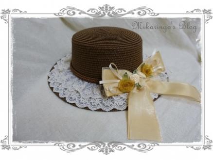 0227巻きバラリボンカンカン帽(茶)