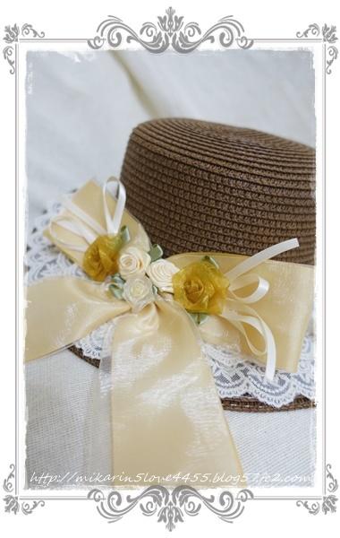 0227巻きバラリボンカンカン帽(茶)アップ