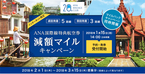 ANAは、国際線特典航空券「減額マイルキャンペーン」を開催!