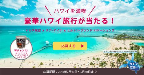 デルタ航空とHGVC・KUA`AINAは、豪華ハワイ旅行がプレゼントされるキャンペーンを開催!