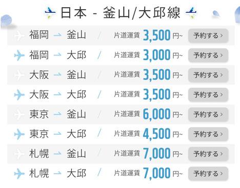 エアプサンは、日本~釜山・大邱線が片道3,000円~の「FLY EARLY」セールを開催!