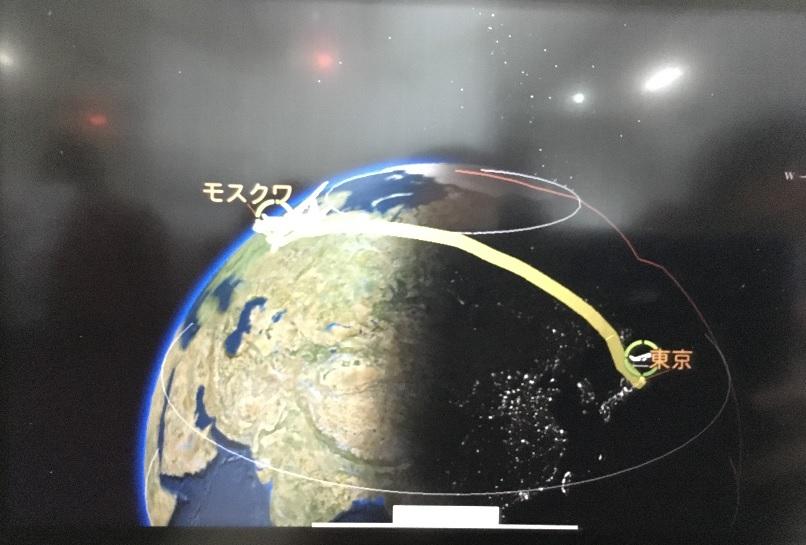 201803 御神事 モスクワ 飛行機の地図