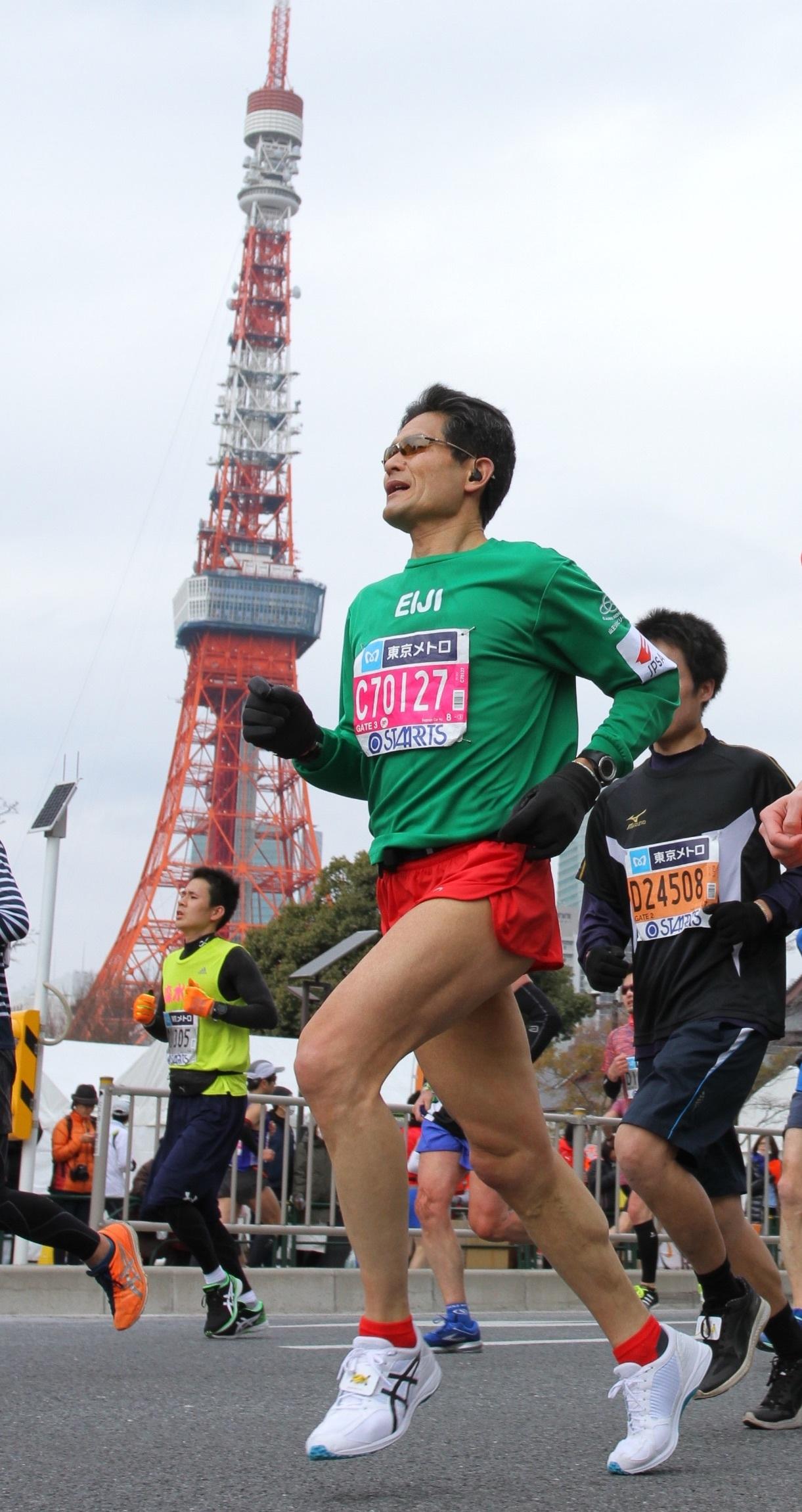 東京マラソン2018東京タワー前
