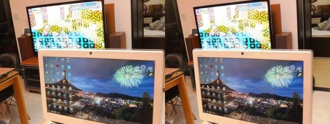 硝子の城 リビングルーム パソコン・テレビ(平行法)