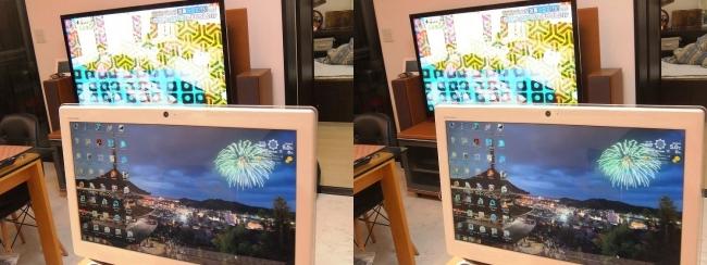 硝子の城 リビングルーム パソコン・テレビ(交差法)