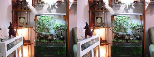 硝子の城 リビングルーム アクアテラリウム・コーナー棚②(平行法)