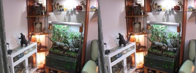 硝子の城 リビングルーム アクアテラリウム・コーナー棚①(平行法)