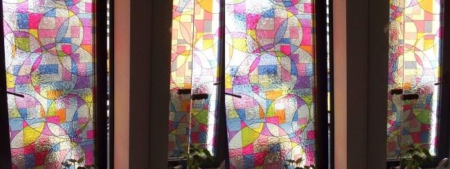 硝子の城 トイレ ステンドグラス風窓(平行法)