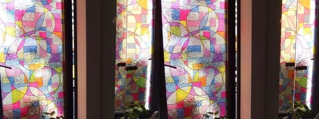 硝子の城 トイレ ステンドグラス風窓(交差法)