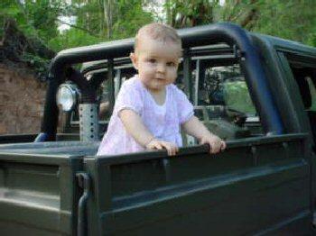 04b 350 20030515b Megan on truck
