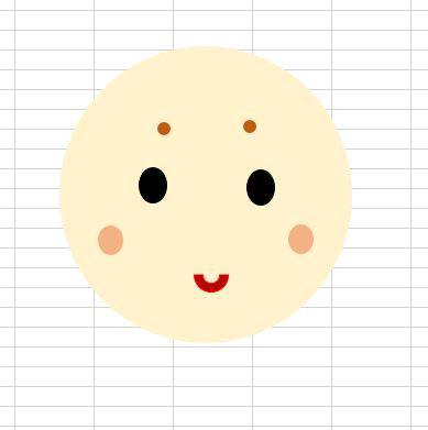 〇を使って顔を描きます