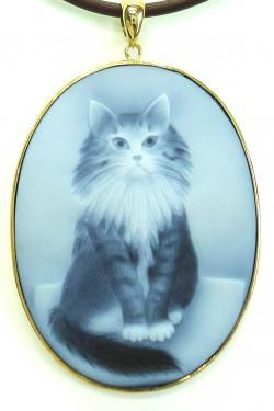 K18ストーンカメオ猫ペンダント ●