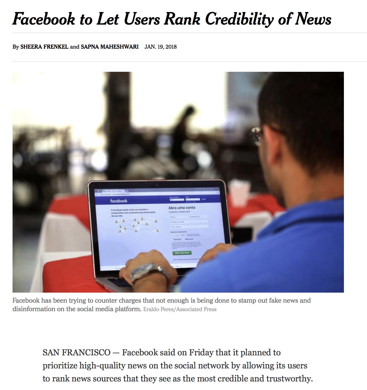 フェイスブック、ニュースの信ぴょう性