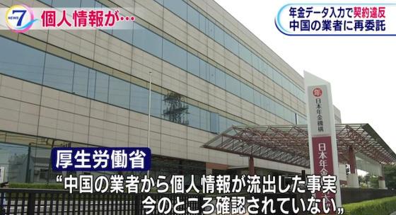 日本年金機構 個人情報 中国 データ